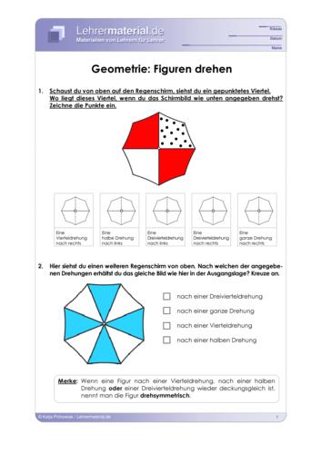 Vorschaugrafik 1 für das  Arbeitsblatt Geometrie: Figuren drehen von Lehrermaterial.de.