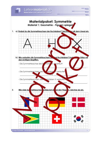 Vorschaugrafik 1 für das  Arbeitsblatt Materialpaket: Symmetrie von Lehrermaterial.de.