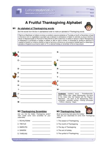Vorschaugrafik 1 für das  Arbeitsblatt A Fruitful Thanksgiving Alphabet von Lehrermaterial.de.