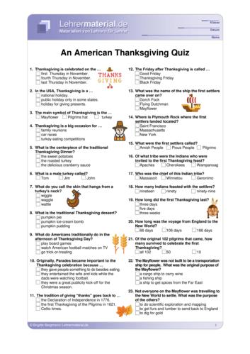 Vorschaugrafik 1 für das  Arbeitsblatt An American Thanksgiving Quiz von Lehrermaterial.de.