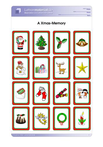 Vorschaugrafik 1 für das  Arbeitsblatt A Xmas-Memory von Lehrermaterial.de.