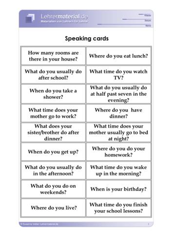 Vorschaugrafik 1 für das  Arbeitsblatt Speaking cards von Lehrermaterial.de.