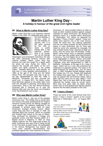 Detailseite für das  Arbeitsblatt Martin Luther King Day öffnen