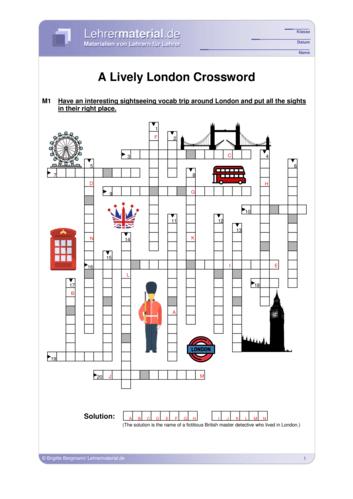 Vorschaugrafik 1 für das  Arbeitsblatt A Lively London Crossword von Lehrermaterial.de.