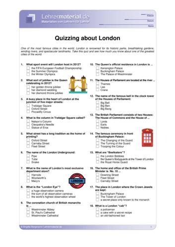 Vorschaugrafik 1 für das  Arbeitsblatt Quizzing about London von Lehrermaterial.de.