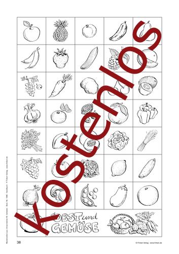 Vorschaugrafik 1 für das kostenlose Arbeitsblatt Obst und Gemüse von Lehrermaterial.de.