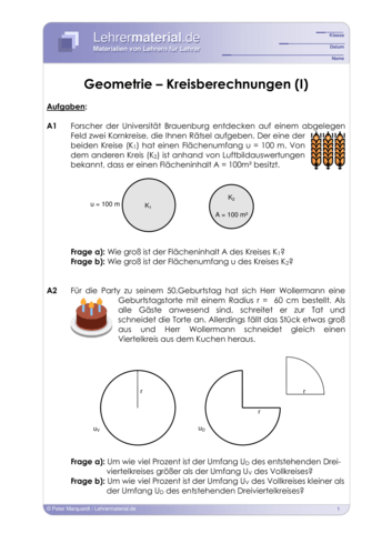 Vorschaugrafik für das  Arbeitsblatt Geometrie – Kreisberechnungen (I) von Lehrermaterial.de
