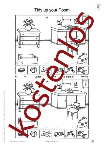 Vorschaugrafik für das kostenlose Arbeitsblatt Little Early Bird - Tidy up your Room (II) von Lehrermaterial.de