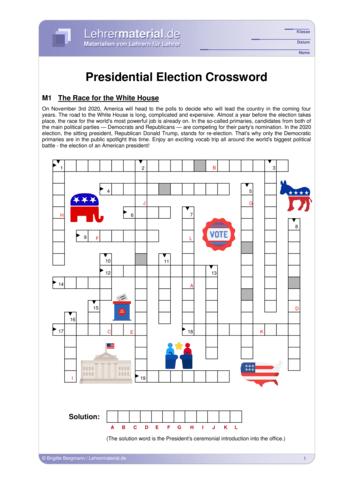 Vorschaugrafik 1 für das  Arbeitsblatt Presidential Election Crossword von Lehrermaterial.de.