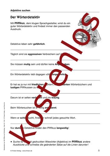 Vorschaugrafik 1 für das kostenlose Arbeitsblatt Der Wörterdetektiv von Lehrermaterial.de.