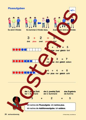Vorschaugrafik für das kostenlose Arbeitsblatt Komm zu Wort: Plusaufgaben von Lehrermaterial.de