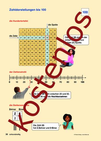 Vorschaugrafik für das kostenlose Arbeitsblatt Komm zu Wort: Zahldarstellungen bis 100 von Lehrermaterial.de