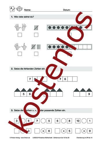 Vorschaugrafik 1 für das kostenlose Arbeitsblatt LOGICO-Box: Zahlenraum bis 10 und 20 (I) von Lehrermaterial.de.