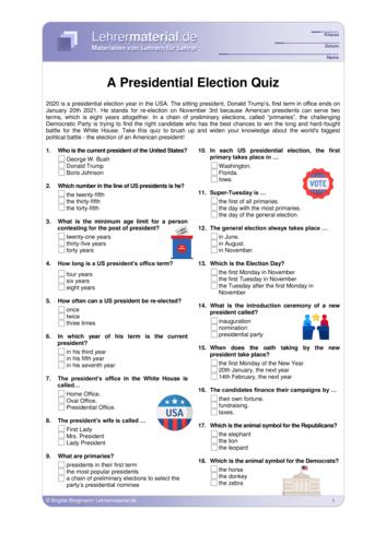 Vorschaugrafik 1 für das  Arbeitsblatt A Presidential Election Quiz von Lehrermaterial.de.