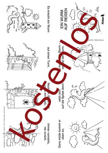Vorschaugrafik 1 für das kostenlose Arbeitsblatt Finken Minis: Ein Wurm auf Reisen von Lehrermaterial.de.