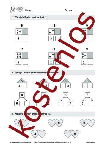 Vorschaugrafik 1 für das kostenlose Arbeitsblatt LOGICO-Box: Zahlenraum bis 10 und 20 (II) von Lehrermaterial.de.