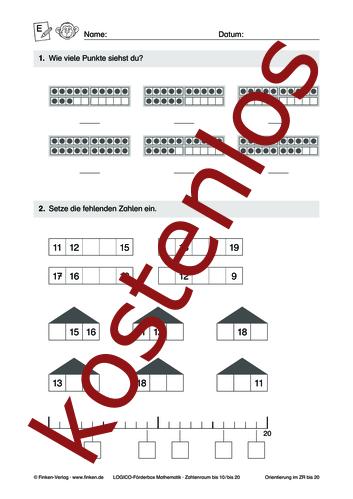 Vorschaugrafik 1 für das kostenlose Arbeitsblatt LOGICO-Box: Zahlenraum bis 10 und 20 (V) von Lehrermaterial.de.