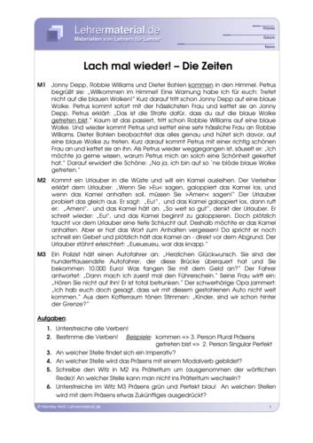 Vorschaugrafik 1 für das  Arbeitsblatt Lach mal wieder - Die Zeiten  von Lehrermaterial.de.