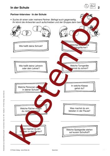 Vorschaugrafik 1 für das kostenlose Arbeitsblatt Partner-Interview von Lehrermaterial.de.
