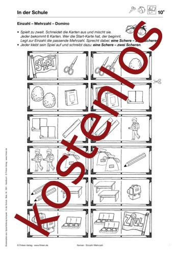 kostenloses arbeitsblatt einzahl mehrzahl domino. Black Bedroom Furniture Sets. Home Design Ideas