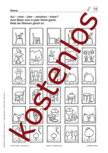 Vorschaugrafik 1 für das kostenlose Arbeitsblatt Auf – unter – über – zwischen – hinter? von Lehrermaterial.de.