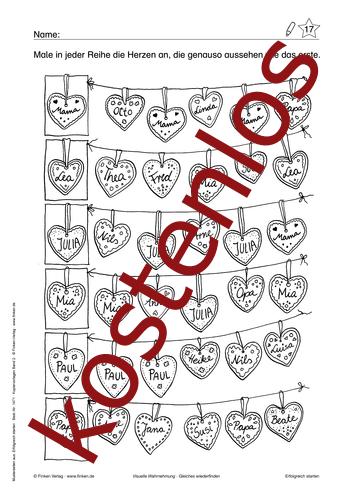 Vorschaugrafik 1 für das kostenlose Arbeitsblatt Gleiches wiederfinden von Lehrermaterial.de.