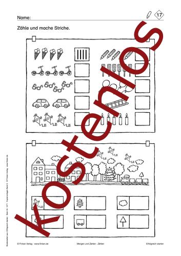 Vorschaugrafik 1 für das kostenlose Arbeitsblatt Mengen und Zahlen von Lehrermaterial.de.