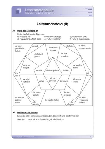 Vorschaugrafik 1 für das  Arbeitsblatt Zeitenmandala (II) von Lehrermaterial.de.