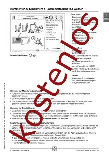Vorschaugrafik 1 für das kostenlose Arbeitsblatt Expertikus: Zustandsformen von Wasser von Lehrermaterial.de.