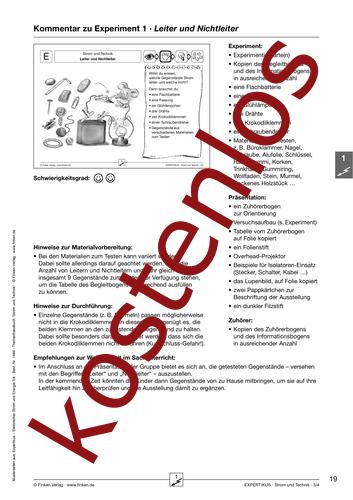 Vorschaugrafik 1 für das kostenlose Arbeitsblatt Expertikus: Leiter und Nichtleiter von Lehrermaterial.de.