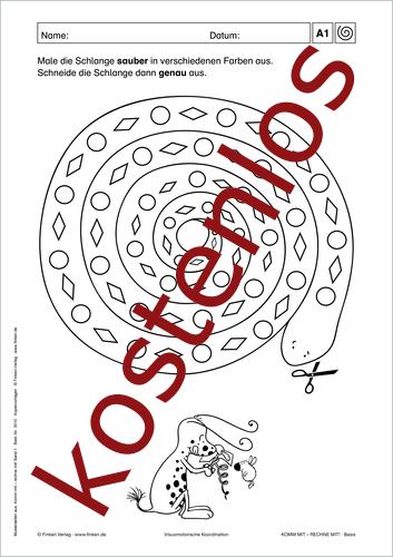 Vorschaugrafik 1 für das kostenlose Arbeitsblatt Komm mit - Rechne mit: Schlange von Lehrermaterial.de.