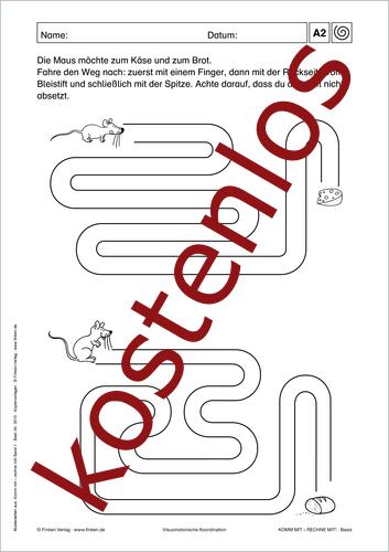 Vorschaugrafik 1 für das kostenlose Arbeitsblatt Komm mit - Rechne mit: Hilf der Maus! von Lehrermaterial.de.