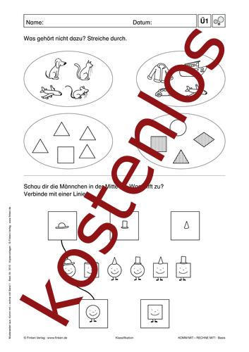 Vorschaugrafik 1 für das kostenlose Arbeitsblatt Komm mit - Rechne mit: Erkennen von Lehrermaterial.de.