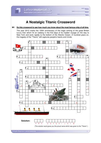 Vorschaugrafik 1 für das  Arbeitsblatt A Nostalgic Titanic Crossword von Lehrermaterial.de.