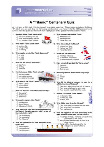 Vorschaugrafik 1 für das  Arbeitsblatt A Titanic Centenary Quiz von Lehrermaterial.de.