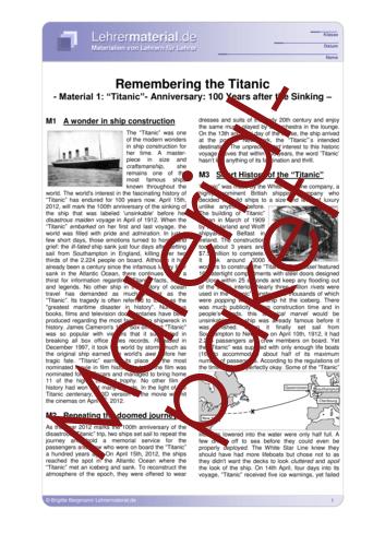 Vorschaugrafik für das  Arbeitsblatt Remembering the Titanic  von Lehrermaterial.de