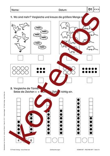 Vorschaugrafik 1 für das kostenlose Arbeitsblatt Komm mit - Rechne mit: Zahlbeziehungen von Lehrermaterial.de.