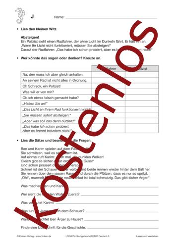 Vorschaugrafik 1 für das kostenlose Arbeitsblatt LOGICO-Box: Texte verstehen von Lehrermaterial.de.