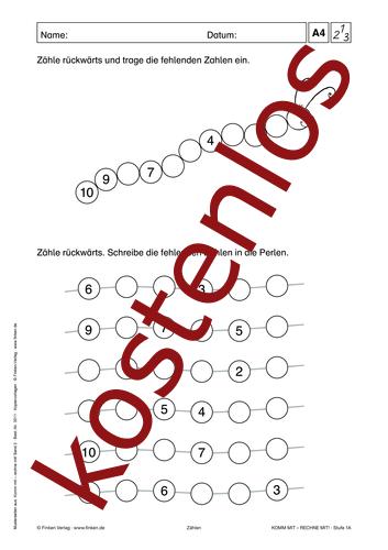 Vorschaugrafik 1 für das kostenlose Arbeitsblatt Komm mit - Rechne mit: Rückwärts zählen von Lehrermaterial.de.