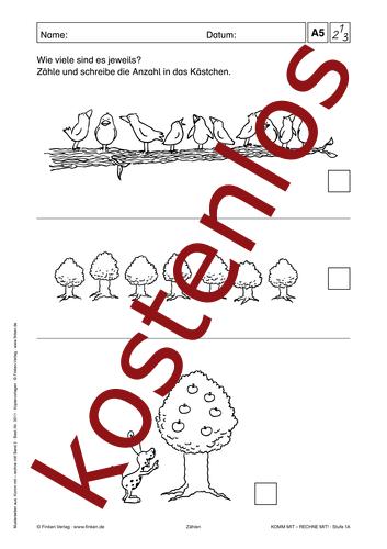 Vorschaugrafik 1 für das kostenlose Arbeitsblatt Komm mit - Rechne mit: Wie viele sind es? von Lehrermaterial.de.