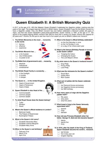 Vorschaugrafik 1 für das  Arbeitsblatt Queen Elizabeth II: A British Monarchy Quiz von Lehrermaterial.de.