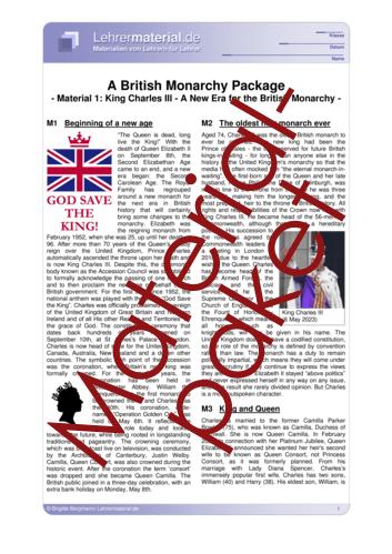 Vorschaugrafik 1 für das  Arbeitsblatt A British Monarchy Package von Lehrermaterial.de.
