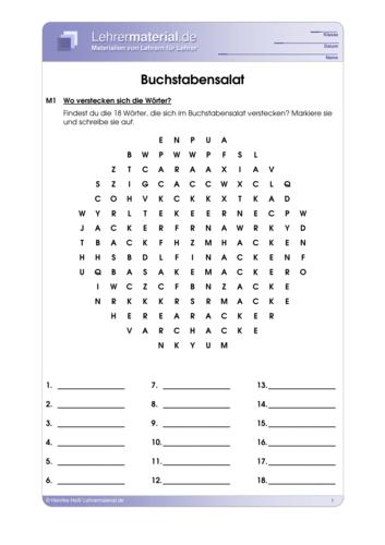 Vorschaugrafik 1 für das  Arbeitsblatt Buchstabensalat von Lehrermaterial.de.