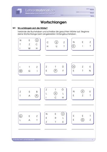 Vorschaugrafik 1 für das  Arbeitsblatt Wortschlangen von Lehrermaterial.de.