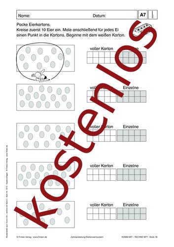 Vorschaugrafik 1 für das kostenlose Arbeitsblatt Komm mit - Rechne mit: Eierkartons von Lehrermaterial.de.