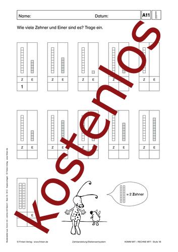 Vorschaugrafik 1 für das kostenlose Arbeitsblatt Komm mit - Rechne mit: Zehner und Einer von Lehrermaterial.de.