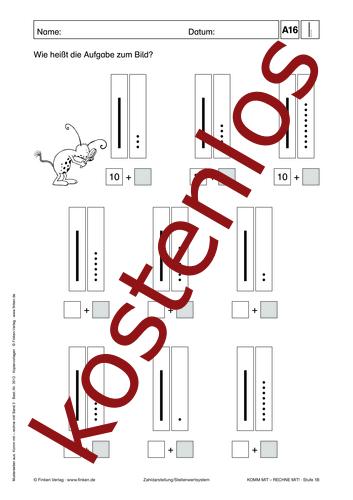 Vorschaugrafik 1 für das kostenlose Arbeitsblatt Komm mit - Rechne mit: Zehner und Einer (II) von Lehrermaterial.de.