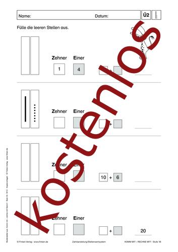 Vorschaugrafik 1 für das kostenlose Arbeitsblatt Komm mit - Rechne mit: Zehner und Einer (III) von Lehrermaterial.de.