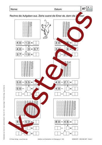 Vorschaugrafik 1 für das kostenlose Arbeitsblatt Komm mit - Rechne mit: Addition und Subtraktion (III) von Lehrermaterial.de.